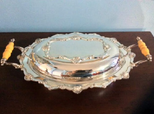 Silver - Covered Shell Pattern Serving Dish w/ Ivory Handles - LARGE - 1930s - Downton Abbey Elegance