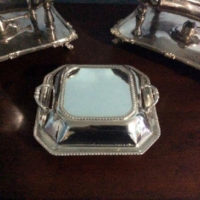 Silver Covered Serving Dish - Unusual Square Shape - Downton Abbey Elegance