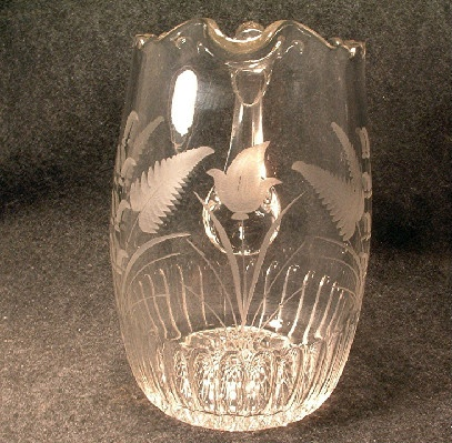 EAPG Palmer Prism Pattern Pitcher - Wheel Cut Decoration - Portland Glass Co. - Circa 1868