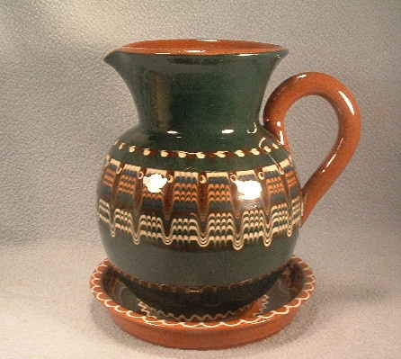 Pottery Pitcher & Underplate - Bulgarian Troyan Redware Pottery - Peacock's Eye Pattern - Vintage 1960s