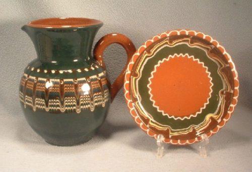 Pottery Pitcher & Underplate - Bulgarian Troyan Redware Pottery - Peacock's Eye Pattern - Vintage 1960s