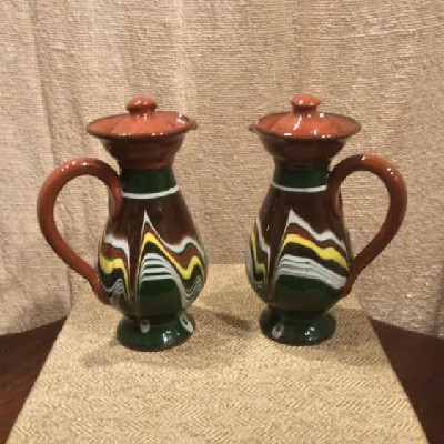 Pottery Oil & Vinegar Cruets - Bulgarian Troyan Redware Pottery - Peacock's Eye Pattern - Vintage 1960s