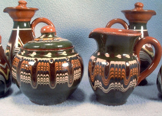Pottery Covered Sugar & Creamer - Bulgarian Troyan Redware Pottery - Peacock's Eye Pattern - Vintage 1960s