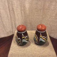 Pottery Salt & Pepper Shakers - Bulgarian Troyan Redware Pottery - Peacock's Eye Pattern - Vintage 1960s