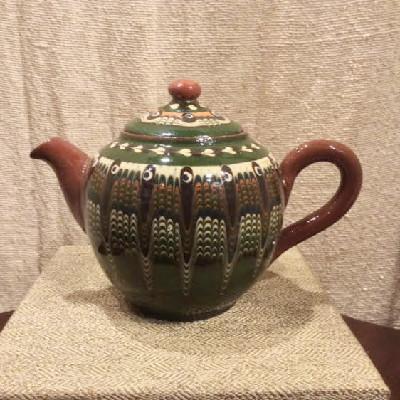 Pottery Teapot - Bulgarian Troyan Redware Pottery - Peacock's Eye Pattern - Vintage 1960s