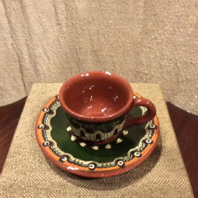 Pottery Teacup & Saucer - Bulgarian Troyan Redware Pottery - Peacock's Eye Pattern - Vintage 1960s