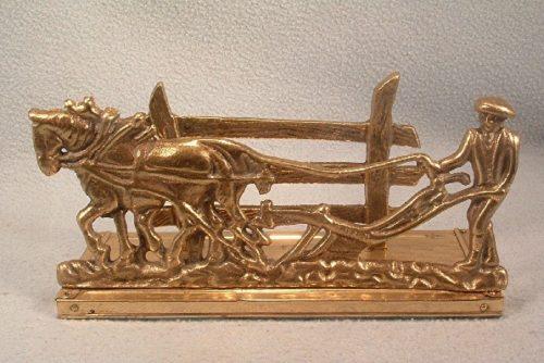 Cast Brass - Letter Holder - Farmer Plowing Field w/ Team Of Horses - Napkin Holder - Business Card Holder
