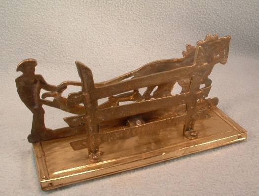Cast Brass - Letter Holder - Farmer Plowing Field w/ Team Of Horses - Napkin Holder - Business Card Holder
