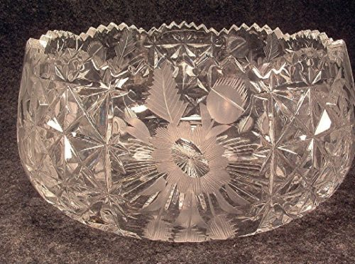 Cut Glass Bowl - Wheel Cut - Floral Pattern - American Brilliant Cut Glass - Vintage