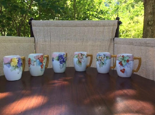 Cider Mugs - Beautiful Set of Six - Hand Painted German - Bavarian - Porcelain Cider Mugs