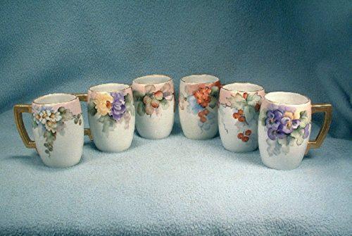 Cider Mugs - Beautiful Set of Six - Hand Painted German - Bavarian - Porcelain Cider Mugs