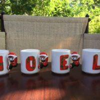 """NOEL"" Christmas Elf Mugs - Set of 4 - House Of Lloyd - Ceramic ""NOEL"" Christmas Elf Mugs !"
