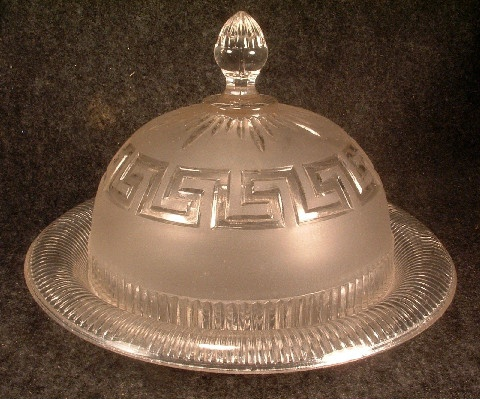 EAPG Roman Key Pattern Lidded Butter Dish - Clear & Frosted Glass - ca. 1860 - Union Glass Co.