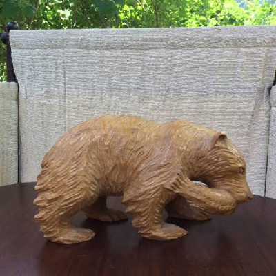 Bear With Fish Figurine - Vintage Primitive Hand Carved - Wooden Bear With Fish Sculpture