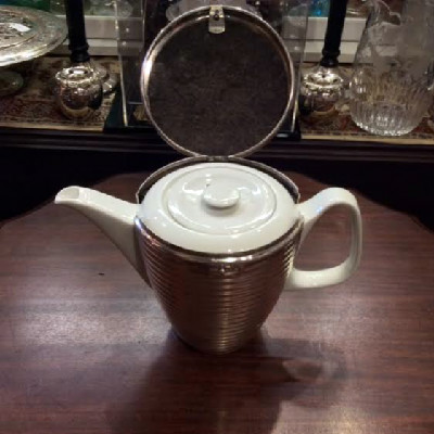 Tea Pot w/ Silver Plate Cozy - Bauscher Weiden Porcelain - Early 1940s - War Years