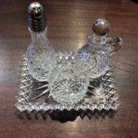 EAPG Glass 4 Piece Individual Condiment Set - Tray w/ Open Salt, Pepper Shaker & Vinegar Cruet - 1890s to 1st Quarter of 20th c.