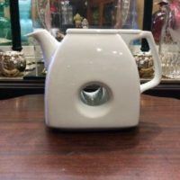 White Porcelain Donut Tea Pot - Art Deco - Funky & Fun !