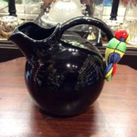 Round Black Beverage Pitcher w/ Colorful Parrot On The Handle