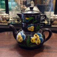 Stacking Pansy Tea Set - Teapot - Sugar - Creamer - Japan