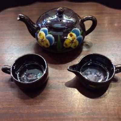Stacking Pansy Tea Set - Teapot - Sugar - Creamer - Japan