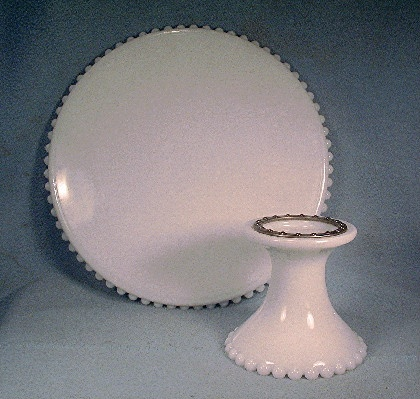 Revolving Cake Stand - Vintage Milk Glass - Candlewick Pattern - Decorating Cake Stand - Icing Cake Stand - Serving Cake Stand