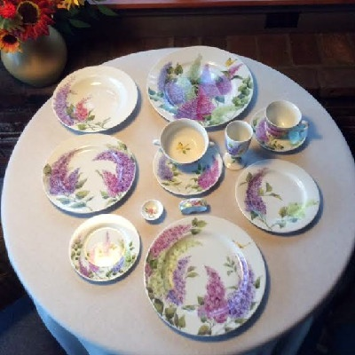 China Pottery Porcelain Lilac Place Setting Hand Painted in the Style of Celia Thaxter