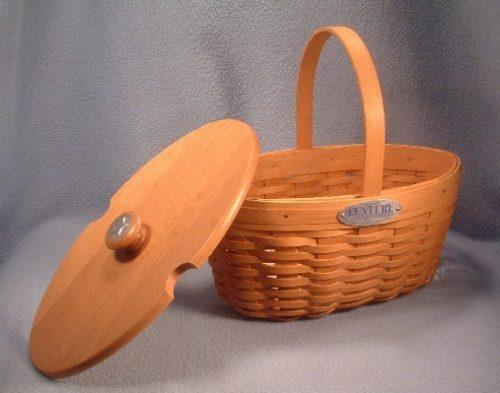 Longaberger Basket - Handbag - Pocketbook - Century Celebration Collector's Club Edition Lidded Basket - 2000