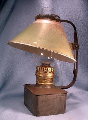 RARE - Plume & Atwood Kerosene Lamp - Square Tin Font - Center Draft Burner - Adjustable Shade - Vintage 1880's