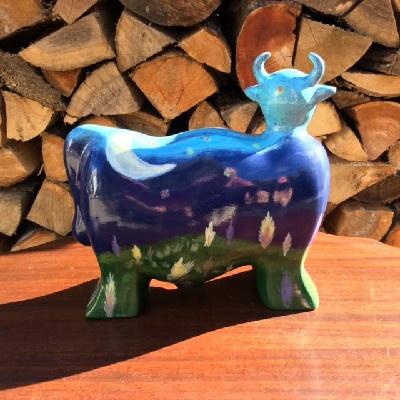 Turov Art Ceramic Cow Figurine - Night Sky, Stars, Moon & Shooting Star - Hand Painted - Unsigned