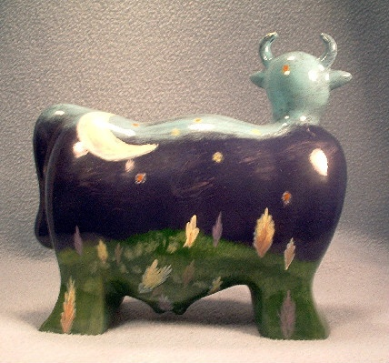 Turov Art Ceramic Cow Figurine - Night Sky, Stars, Moon & Shooting Star - Hand Painted - Unsigned