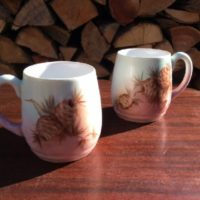 PAIR - Vintage German Bavarian Cider Mugs - Hot Chocolate Mugs - Mulled Wine Mugs - Hand Painted Pine Cone Decoration - Signed