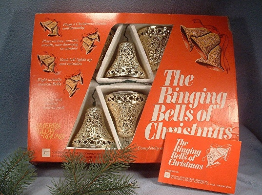 """The Ringing Bells Of Christmas"" - Vintage Guilden Merry Glow Round Musical Bells - Ring-a-ling - hear them ring - Soon it will be Christmas day!"