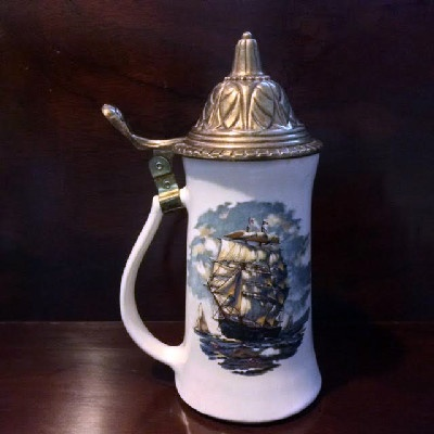"Tall Ship Scene Lidded Beer Stein - Vintage McCoy Art Pottery - ""I must go down to the seas again"""