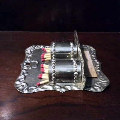 Tin Old Original DOUBLE Match Holder - Early 1900s - Early 20th c. - Raised Design - Remarkable Condition