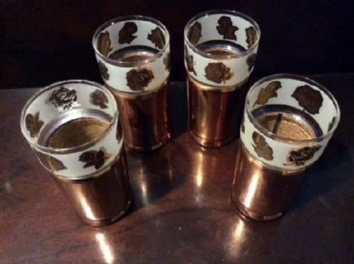 Modern Everlast Copper Tumblers - Rose Decoration Glass Inserts - Set of 4 - Vintage 1950s