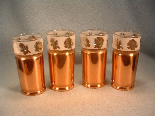 Modern Everlast Copper Tumblers - Rose Decoration Glass Inserts - Set of 4 - Vintage 1950s