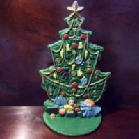 Vintage Cast Iron Christmas Tree Door Stop