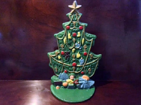 vintage cast iron christmas tree door stop - Iron Christmas Tree