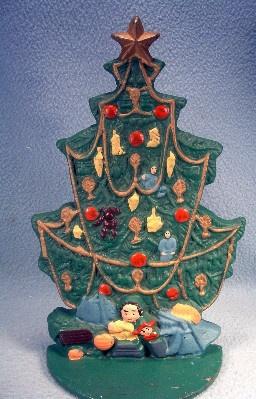 Vintage Cast Iron Christmas Tree Door Stop