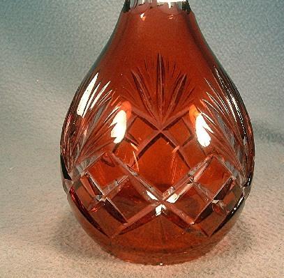 Glass Decanter - Cranberry Cut to Clear - Vintage Bohemian Czechoslovakian