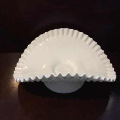 White Milk Glass Banana Boat - Vintage Fenton Hobnail