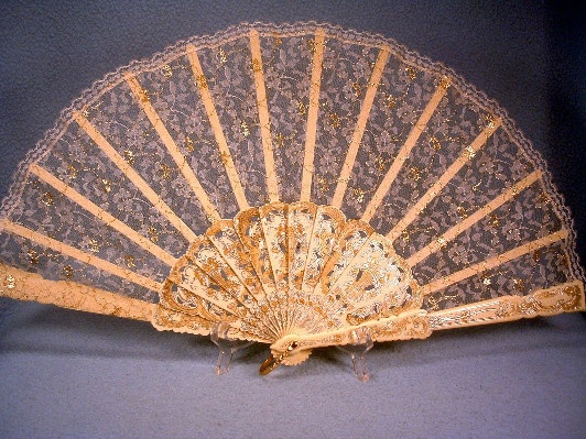 Hand Fan - Delightfully Delicate - Plastic / Lucite with Lace & Gold & Silver Decoration - Made In Spain