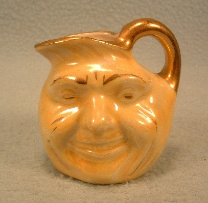 Man In The Moon Yellow Luster Ware Porcelain Syrup / Cream Pitcher - PLUS VT Maple Syrup! - Vintage - Miniature