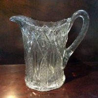 Large Glass Pitcher - Vintage Millersburg Glass Co. - Early American Pattern Glass - Geometric Magnificence – Jewel Like & Scintillating.