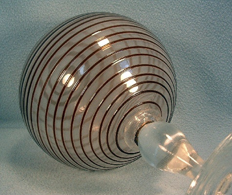 Hand Blown - Spiral Glass Ball - Sphere - Globe - End Of Day Whimsy - Modern Mid 20th c. (1960s) - Blenko Spiral Amethyst & Crystal