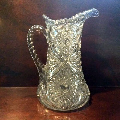 EAPG - Martec Pattern - Blown Clear Glass Tankard Pitcher by McKee Bros. w/ Applied Handle and Pontil - 1906