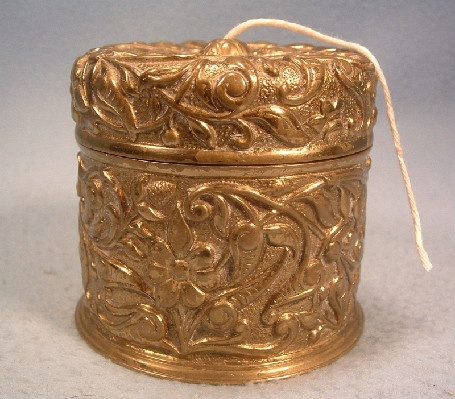 Embossed - Floral - Brass String Holder w/ Crescent & Arrow Mark - Antique Victorian