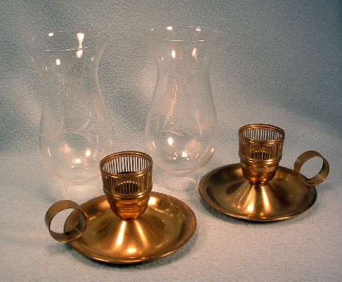 "Brass - Jack Be Nimble Candle Holders w/ Etched Glass Hurricane Chimneys - Finger Candlesticks Marked ""Chase USA"""