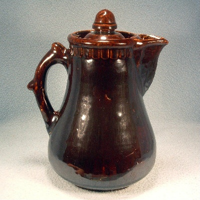 Bennington Lidded Coffee Pot with Acorn Finial - Vintage Rockingham Brown Glaze