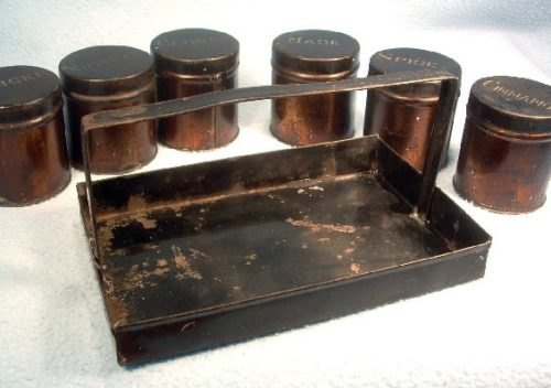 Victorian Tin Spice Jars/Cans with Tin Caddy - Set of Six - Vintage